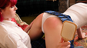 Spanked in this position with a hairbrush