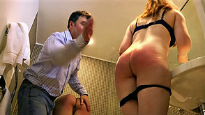 Irelynn complains as her wet bottom is spanked too