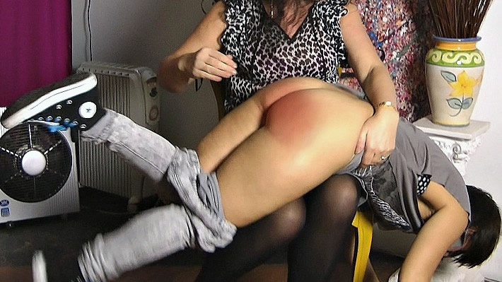 Pandora yelps and cries out during her early morning spanking