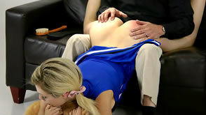 Chessie Kay spanked in the wheelbarrow position