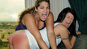 both girls get a hard strapping and spanking