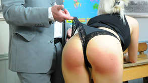 Leandra loses the right to wear her panties in this spanking
