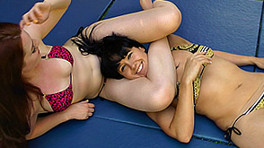 Zoe and Jenna wrestle in bikinis